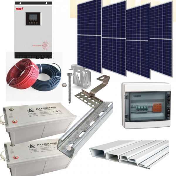 image showing solar products in a complete solar installation